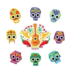 Mexico flowers skull elements vector