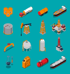 Oil and gas isometric set vector