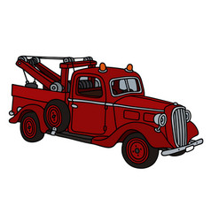 Old red small wrecking truck vector