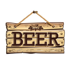 Old wooden signboard beer vector