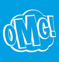 Omg comic text speech bubble icon white vector