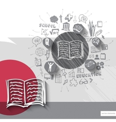 Paper and hand drawn book emblem with icons vector image