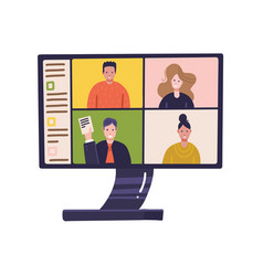 pc screen with online distant conference on vector image