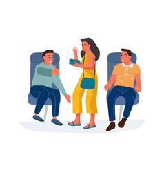people in airplane cartoon men sitting in vector image