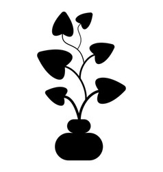 plant in pot black silhouette isolated object vector image