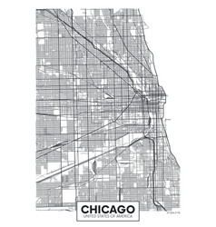 Poster map city chicago vector