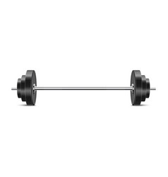 Realistic barbell with black weights - gym vector