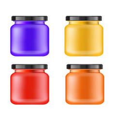 realistic multi-colored matt jar with black lid vector image