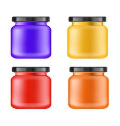 Realistic multi-colored matt jar with black lid vector