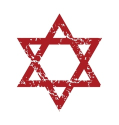 Red grunge Judaism logo vector