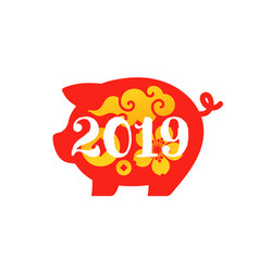 Red pig as chinese new year 2019 zodiac sign vector