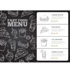 Restaurant brochure menu design with hand vector image