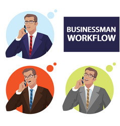 Round icons set with businessmen talking on phone vector