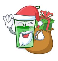 santa with gift green smoothie mascot cartoon vector image