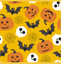 seamless halloween pattern with skullpumpkinbat vector image
