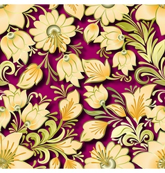 Seamless lighten floral ornament on pink vector