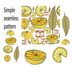 seamless pattern of lemon ice hand drawn style vector image