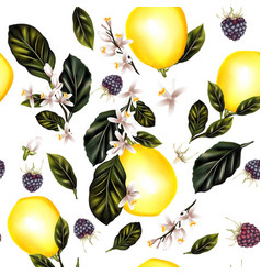Seamless pattern with lemons leafs and flowers vector