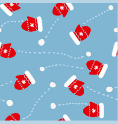 seamless pattern with mittens and snowballs vector image