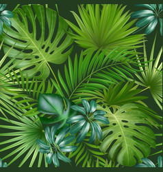 Seamless tropical pattern with palm leaves for vector