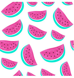 seamless watermelon pattern isolated on white vector image