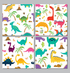 set cute dinosaur seamless patterns vector image