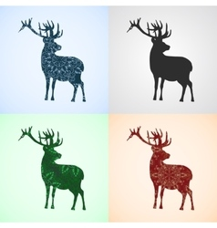 Set from Deer with Mandala Patterns vector image