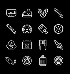 Set line icons of motorcycle parts vector