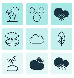 Set of 9 harmony icons includes tree leaf vector