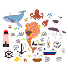 set of cute nautical elements hand drawn vector image