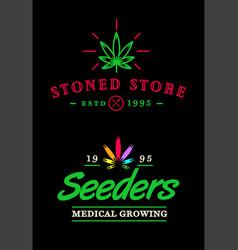 Set of dispensary medical cannabis marijuana sign vector