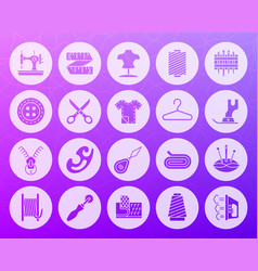 Sewing shape carved flat icons set vector
