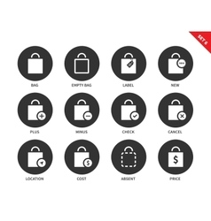 Shopping bags icons on white background vector image