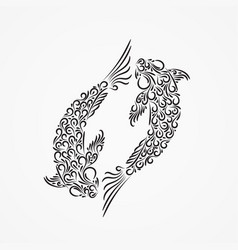 silhouette two carp from decorative ornate vector image
