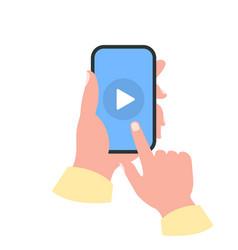 Smartphone in your hand concept watch video vector