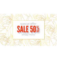 spring sale banner special offer get up to 50 vector image