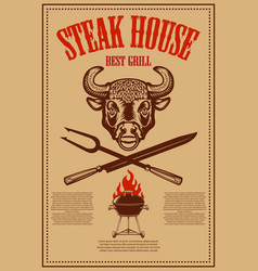 steak house poster template with bbq grill and vector image