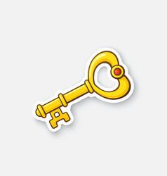 Sticker gold key in heart shape vector
