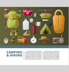 Summer camping and hiking poster vector
