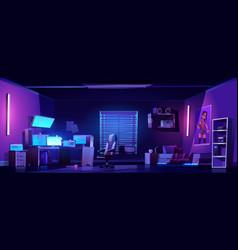 Teenager boy bedroom interior computers on desk vector