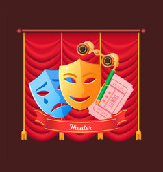 theater masks drama and comedy and tickets show vector image