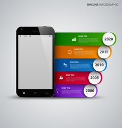 Time line info graphic with mobile phone and vector image