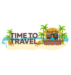 time to travel palm drink summer lounge chair vector image