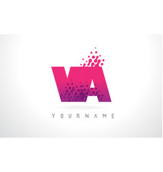 va v a letter logo with pink purple color and vector image