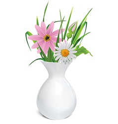 White vase with summer flowers grass and leaf vector image