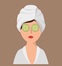 woman avatar on spa vector image