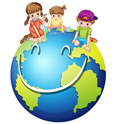 Children and happy world vector image