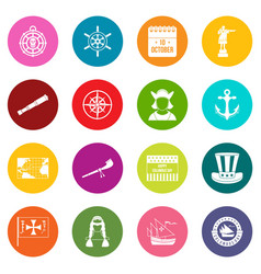 Columbus day icons many colors set vector