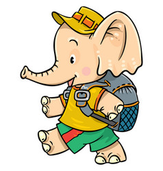 little baby elephant goes camping vector image vector image