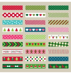 Christmas washi tape pieces set vector image